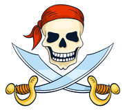Cartoon hand-drawn pirate skull isolated on white Stock Photography