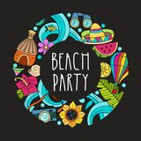 Cartoon hand drawn poster consisting of individual elements. Sum. Summer hand drawn Doodle. The composition consists of separate elements. Vacation in the Royalty Free Stock Photography