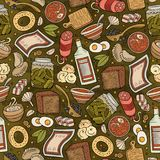 Cartoon hand-drawn Russian food seamless pattern. Lots of symbols, objects and elements. Perfect funny vector background Stock Photos