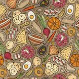Cartoon hand-drawn Russian food seamless pattern. Lots of symbols, objects and elements. Perfect funny vector background Stock Images