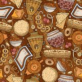 Cartoon hand-drawn Russian food seamless pattern. Lots of symbols, objects and elements. Perfect funny vector background Royalty Free Stock Photos