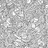 Cartoon hand-drawn science doodles seamless pattern Stock Photography