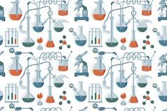 Cartoon hand drawn Science seamless pattern. Colorful flat background vector illustration