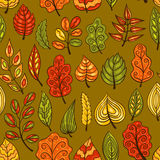 Cartoon hand-drawn seamless pattern with autumn leaves Stock Photo