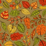 Cartoon hand-drawn seamless pattern with leaves Stock Image