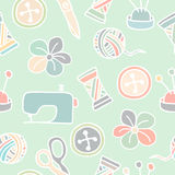 Cartoon Hand Drawn Seamless Pattern with Sewing and Tailoring Elements Royalty Free Stock Photography