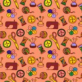 Cartoon Hand Drawn Seamless Pattern with Sewing and Tailoring Elements Stock Photo