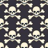Cartoon hand-drawn skull seamless pattern Stock Images