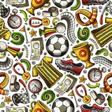 Cartoon hand-drawn Soccer seamless pattern Stock Photography