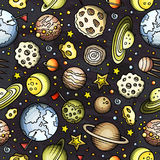 Cartoon hand-drawn space, planets seamless pattern. Lots of symbols, objects and elements. Perfect funny vector background Stock Photography