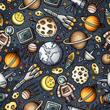 Cartoon hand-drawn space, planets seamless pattern Royalty Free Stock Photos