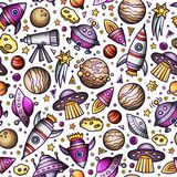 Cartoon hand-drawn space, planets seamless pattern Stock Photos
