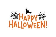 Cartoon hand drawn text of the words Happy Halloween. vector illustration