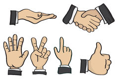 Cartoon Hand Gestures Vector Illustration Stock Image