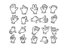 Cartoon hand gloved , illustration of various hands Stock Photography