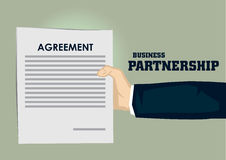 Cartoon Hand Holding Document Titled Agreement Vector Illustrati Royalty Free Stock Image