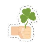 Cartoon hand holding shamrock st patricks day Royalty Free Stock Image
