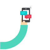 Cartoon hand holding smartphone with chatting notifications, person hand with mobile phone and sms messages, bubbles Royalty Free Stock Images