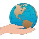 Cartoon hand holds a western hemisphere globe Stock Photography