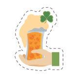 cartoon hand leprechaun holding glass beer st patricks day Stock Images