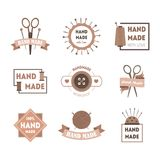 Cartoon Hand Made Product Badges or Labels Set. Vector. Cartoon Hand Made Product Badges or Labels Set Quality Handcraft Flat Design Style Isolated on White Stock Photography