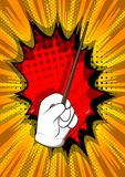 Cartoon hand with Magic Stick. royalty free illustration