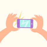 Cartoon hand making a photo by smartphone. stock illustration