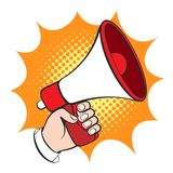 Cartoon hand with megaphone Royalty Free Stock Photography