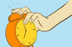 Cartoon Hand Reaches For A Ringing Alarm Clock to turn it off Royalty Free Stock Images
