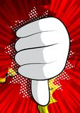 Cartoon hand showing dislike. hand sign on comic book background. royalty free illustration