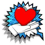 Cartoon hand showing red heart. Vector cartoon hand showing red heart. Illustrated sign on comic book background stock illustration