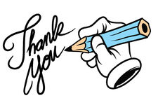 Cartoon hand writing thank you Stock Photos
