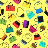 Cartoon Handbag or Female Bags Background Pattern. Vector Royalty Free Stock Images