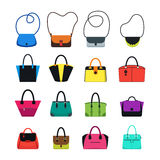 Cartoon Handbag or Female Bags Color Icons Set. Vector Royalty Free Stock Photography