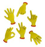 Cartoon hands. A set of cartoon hands in different poses. Isolated on white background Stock Photos