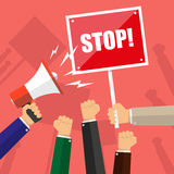 Cartoon hands of demonstrants, hand with Megaphone and stop sign, protest concept, revolution, conflict, vector Stock Image