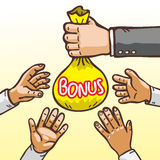 Cartoon Hands Giving and Receiving Bonus Bag Stock Photography