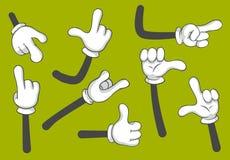 Cartoon hands. Gloved hands. Vector isolated illustration set vector illustration