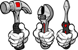 Cartoon Hands Holding Tools Stock Image