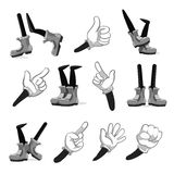 Cartoon hands and legs vector collection. Cartoon hands and legs vector. Collection of cartoon hands and legs for animation, illustration of comical hand in Stock Photography