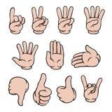 Cartoon hands set. Set of human cartoon hands showing various gestures Stock Photos