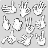 Cartoon Hands. A set of cartoon style hands Royalty Free Stock Photos