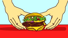Cartoon hands taking a hamburger from a red table. Stock Photography