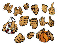 Cartoon hands in a variety of gestures. Assortment of cartoon hands in multiple poses Stock Images