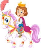 Cartoon handsome prince riding horse  on white background Stock Photos