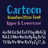 Cartoon handwritten font. Uppercase and lowercase letters. Isolated english alphabet of grainy texture.  Stock Photos
