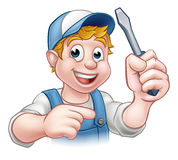 Cartoon Handyman Electrician Holding Screwdriver Stock Photo