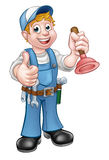 Cartoon Handyman Plumber Holding Plunger Royalty Free Stock Photos