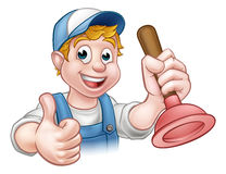 Cartoon Handyman Plumber Holding Plunger. A plumber handyman cartoon character holding a plunger and giving a thumbs up Stock Image