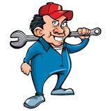 Cartoon handyman with tools Stock Photos